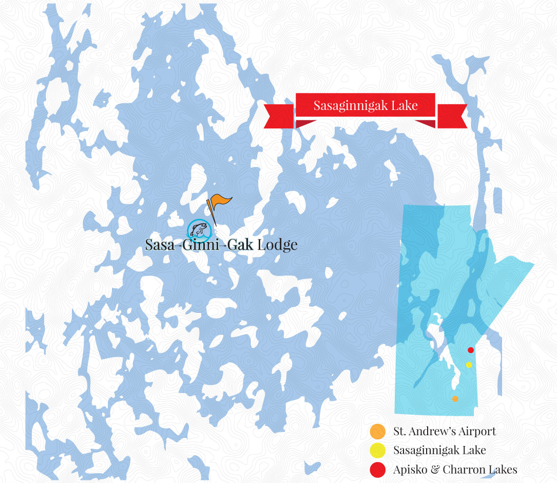 Sasaginnigak Lake and Lodge Map